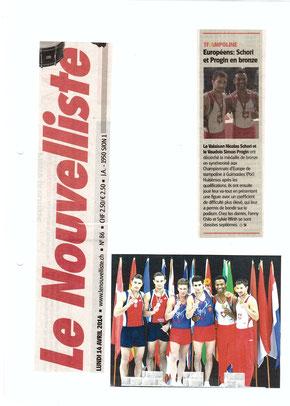 Le Nouvelliste, 14.04.14: Championnat d'Europe au Portugal