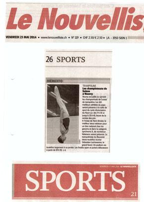 Le Nouvelliste, 23.05.14: Finale suisse à Vouvry