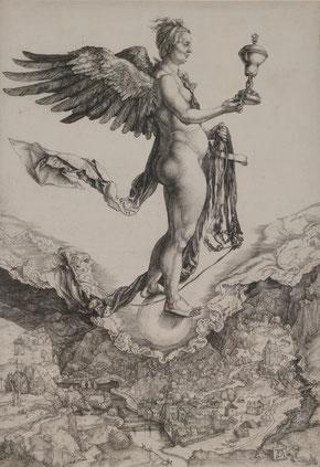 Nemesis oder das große Glück, Albrecht Dürer, um  1501, Kupferstich, Germanisches Nationalmuseum Nürnberg