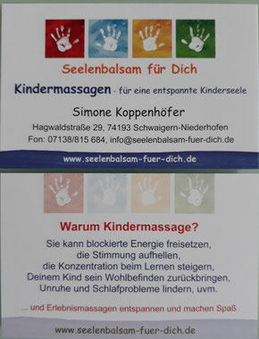 Visitenkarte Kindermassage - Seelenbalsam für Dich bei Simone Koppenhöfer in Schwaigern-Niederhofen