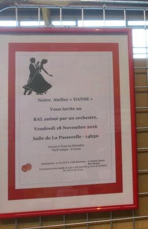 BAL le VENDREDI 18 NOVEMBRE à 14H30 à LA PASSERELLE