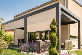 Pavillon, Lamellendach, Pergola, Terrassenbedachung, Softtop, Seitenbeschattung, Vertikalbeschattung, Beleuchtung