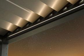 Pavillon, Lamellendach, Pergola, Terrassenbedachung, Hardtop, Seitenbeschattung, Vertikalbeschattung, Beleuchtung