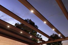 Glasdach, Glasdachsystem, Beschattung, Wintergarten, Vertikalbeschattung, Beleuchtung, Storen