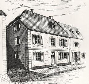Schulhaus und späteres Schwesternwohnheim - Zeichnung: Gottfried Schabert