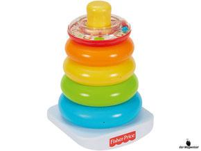 Im Paket Fisher-Price ist eine Farbring Pyramide mit 5 farbige Ringe und einer Schaukelbasis enthalten.
