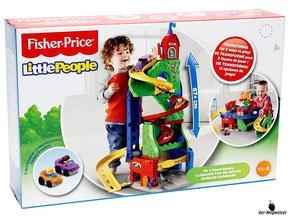 """Bei der Bestellung im Onlineshop der-Wegweiser erhalten Sie das Fisher-Price Paket """"Hochhaus Rennbahn""""."""