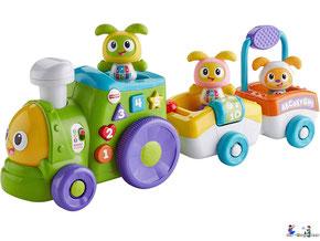 Im Paket Fisher-Price ist eine Lok mit zwei Wagen, mit den Figuren BeatBo, BeatBelle und Beatbello enthalten.