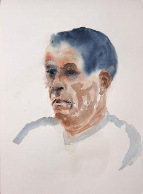 Juli 2016 Kirsten »Portrait G. W.« Aquarell 42 x 29,7 cm