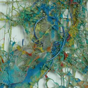 Papierfasern über gespannte Drähte geschöpft, 30 x 30 cm