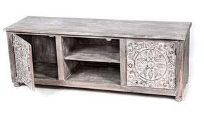 Oosters tv meubel met houtsnijwerk white wash