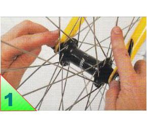 Les roues sont composées de deux côtés ou séries de rayons, appelés nappes, qui forment chacune une sorte de chapeau. Il est important de pouvoir les repérer facilement pour effectuer le dévoilage.