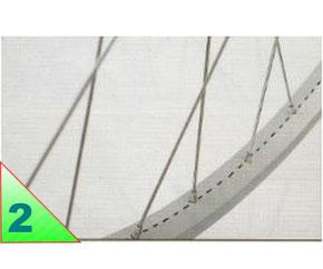La jante est percée à droite et à gauche pour recevoir les nappes respectives. Sur la roue arrière, la jante est centrée par rapport à l'axe, pour laisser l'espace à la roue libre, la nappe droite est fixée en retrait sur le moyeu. ../..