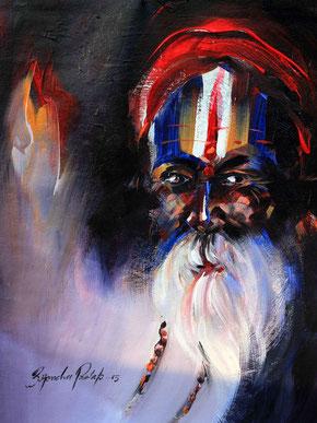 peinture vieil indien , tableau portrait homme, peinture indien, peinture portrait homme, portrait d'homme peinture, portrait homme peinture, peinture visage homme, portrait vieillard, portrait vieil homme, portrait homme barbu, portrait visage homme,