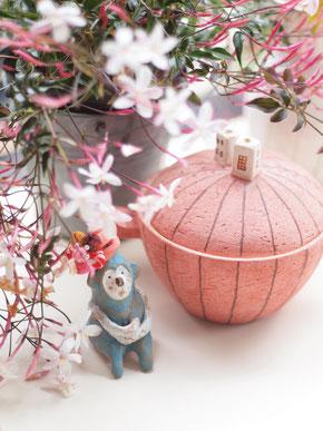 「ジャスミンお花見サル」ミニミニ土鍋
