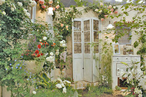 様々な種類のバラで囲まれた庭