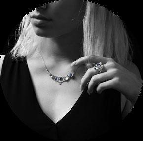 Bijoux prestige Collier et bague Nature Givrée, Argent et saphirs