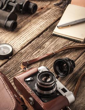 appareil photo, photographie, jumelles, bois, découverte