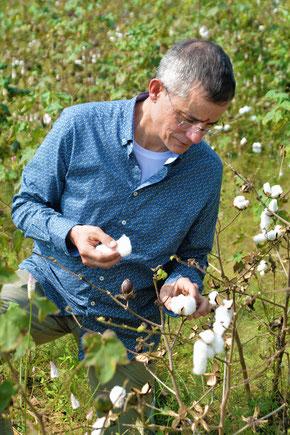 Rolf Slickers bei der Baumwollernte. Bild: Dibella