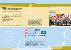 """Kurse Demenz: """"Biberacher Weg - Wissen für zu Hause"""", Prospekt - Vorderseite"""