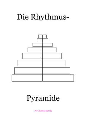 Schlagzeug Übung für Kinder PDF Arbeitsblatt Rhythmus-Pyramide