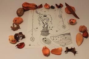 Illustration de Boris l'oiseau chic illustrée par Cloé Perrotin