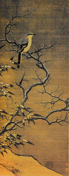 Li Di, Pie-grièche sur un arbre en hiver, rouleau mural, encre et couleur sur soie, 1187