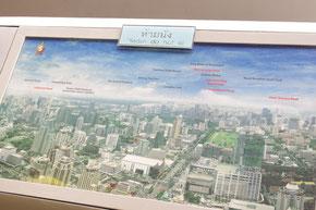 眼下に広がるバンコクの街の案内図