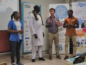 Pays de Savoie Solidaires et la délégation Sénégalaise du réseau d'acteurs pour l'emploi de Bignona, pendant le Mercredi d'Agisens sur le microfinancement du 27 mars 2019