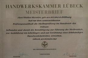 Meisterbrief Walter Mereien