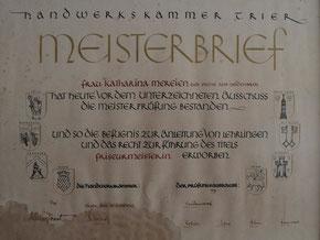 Meisterbrief Katharina Mereien