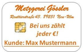 Vorderseite personalisierte Kundenkarte