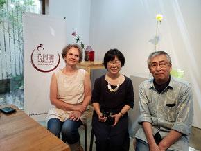 花阿彌・久保数政先生とガブリエレ先生、憧れのお二人と記念撮影