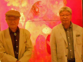 佐藤進 旅の絵日記展-Ⅱ  写真右、画家 佐藤進さん 左、画家のお師匠様