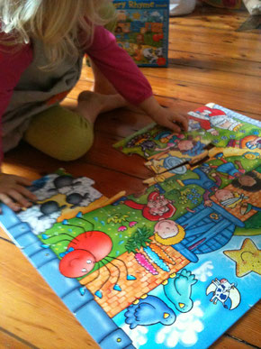 sharing a Nursery Rhyme Puzzle at home