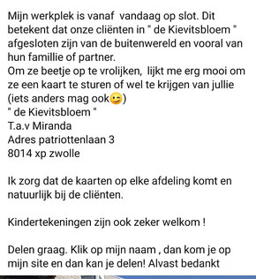 Slakkenpost.nl =Extra aandacht - Corona actie: de Kievitsbloem