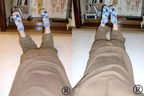 この検査で身体の歪みがわかり、腰痛、座骨神経痛などの原因がわかります。