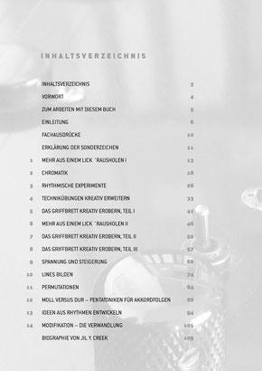 """Inhaltsverzeichnis von """"Creative Guitar"""" E-Gitarre Lehrbuch von Jil Y. Creek"""