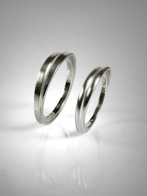 Wedding rings flat link, curved link, intertwined, silver - Nelly Chemin