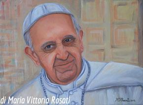 Ritratto di Papa Francesco, olio su tela cm 30x40 anno 2015