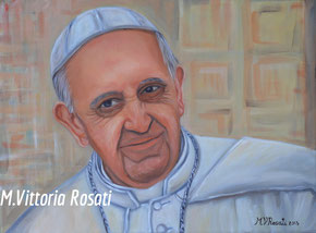 Pope Francesco, oil on canvas, cm 30x40 anno 2015