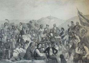 Die Gründer der Freiburger Burschenschaft Teutonia
