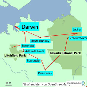 Bild: Karte der Rundreise von Darwin in den Litchfield National Park und Kakadu National Park