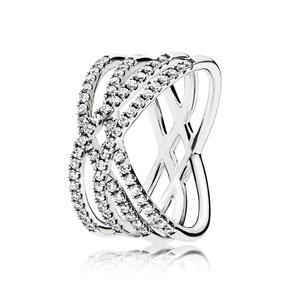 196401CZ Kosmische Linien-Ring aus Sterling-Silber mit 71 klaren Cubic Zirkonia in Körnerfassung - neu/neueste-produkte/kosmische-linien-ring/196401CZ