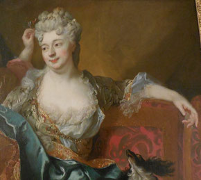 Nicolas de Largillière, Portrait d'une dame avec son fils, détail du décolleté restauré grâce à la conribution de l'Association des Amis du musée Boucher-de-Perthes/ Photo JH