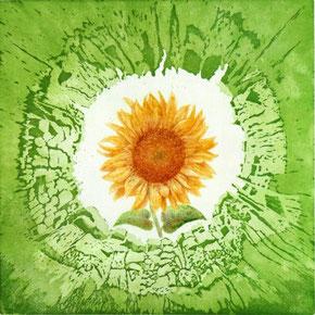 1. Druckgang: Aquatinta-Struktur // 2. Druckgang: Kaltnadel-Radierung - Umweltsymbol Sonnenblume