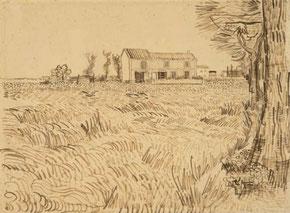 手紙609麦畑の農家(鉛筆)