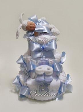 """Торт из памперсов для мальчика  """"Малыш Зайка"""" ( из коллекции """"Сладкий сон"""")"""