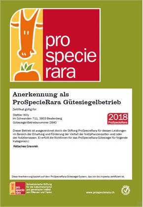 Pro Specie Rara-Zertifikat Bauernbetrieb Stettler Beatenberg Direktvermarktung