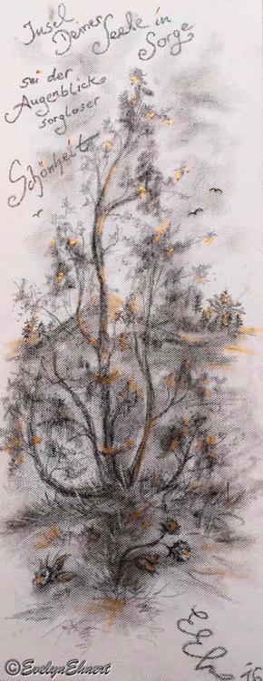 Evelyn Ehnert Kohle - Zeichnung mit Acryl auf Leinwand; Maße ca. L. x H. ca. 20x50cm Titel Zuversicht Bild_Zeichnung